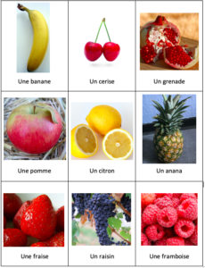 three by three grid of different types of commons fruit, with their names written in French underneath